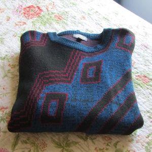 Vintage Sweaters - Vintage 80s/90s Oversize Geometric Print Sweater